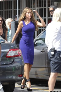 Sofia Vergara wears a tight blue dress as she leaves the set of Chef in Little Havana, Miami
