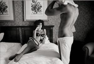escort marbella man in towel girl in lingerie